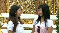 Asia Girls Talking-Cell Phone Interruption Stock Footage