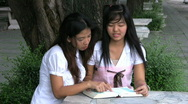 Asian Girls Reading And Discussing The Bible Stock Footage