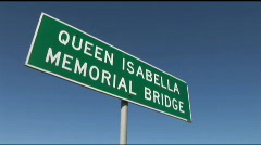 South Padre queen isabella bridge sign Stock Footage