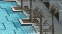 South Padre pool overhead zoomout Stock Footage