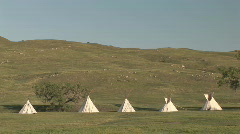 P00518 Indian Teepees on Prairie Stock Footage