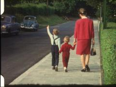 Family walk (vintage 8 mm amateur film) - stock footage