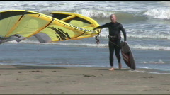 South Padre kite surfer comes into shore Stock Footage