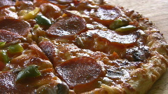 Hot Cooked Pepperoni Pizza Panning Shot Close Up Stock Footage