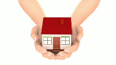 Hands carry house loop - stock footage