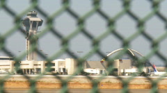 Airport Control Tower Fence Stock Footage