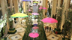 Inside of the Palazzo Hotel in Las Vegas with Umbrellas Stock Footage