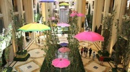 Stock Video Footage of Inside of the Palazzo Hotel in Las Vegas with Umbrellas