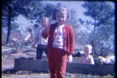 8mm kids wave to camera Stock Footage