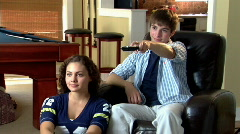 Young Couple Watches Television 276 - stock footage