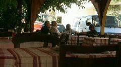 Greek man on a terrace Stock Footage