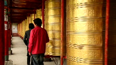Prayer Wheels in Tagong, China Stock Footage