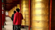 Stock Video Footage of Prayer Wheels in Tagong, China