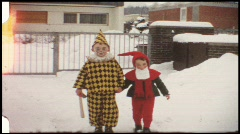 Children at carnival - Punch and Dwarf (vintage 8 mm amateur film) Stock Footage
