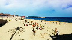 Beach volley sand barcelona sport Stock Footage