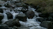 Stock Video Footage of Water flowing over rocks and boulders in mountain stream