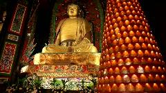 Praying at Baoguo monastery, Leshan, China Stock Footage