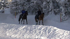 Horseriders In Snow Scenery Stock Footage