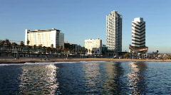 Port olympic barcelona spain harbour marina mediterranean boats sea Stock Footage