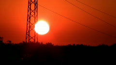 Power Lines on sunrise II. Stock Footage