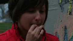 PUFFING A DOOBIE - stock footage