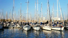 Port olympic barcelona spain harbour marina mediterranean boats sea Stock Footage