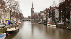 amsterdam canal city urban boats waterway europe - stock footage