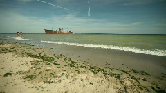 Beach and Shipwreck Stock Footage