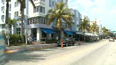 Miami Ocean Drive Buildings Art Deco - Time Lapse Stock Footage