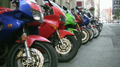 Line of motorcycles. Two shots. Stock Footage