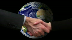 Globe with hand shake V2 - HD - stock footage