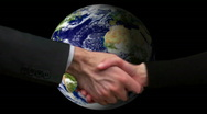 Stock Video Footage of Globe with hand shake V2 - HD
