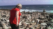 Aruba rocks tourist Stock Footage