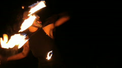 Fire thrower performer circus woman dancer  Stock Footage