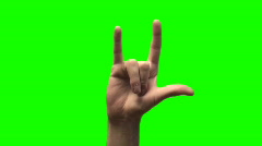 I LOVE YOU hand sign green screen V2 - HD Stock Footage