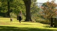 Stock Video Footage of Woman Walks Dog 297