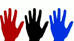 Hand wave red black blue - HD Stock Footage
