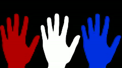 Hand wave red white blue - HD Stock Footage
