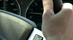 Cruise Control Set on Car Steering Wheel Stock Footage