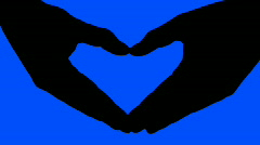Heart hand sign blue - HD - stock footage
