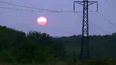 Power Lines on sunrise 1. Stock Footage