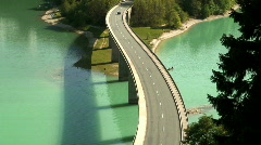 Stock Video Footage of Bridge over Sylvenstein Lake Germany