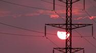 Power Lines on sunrise 2. Stock Footage