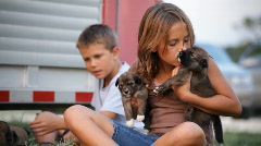 Kids with pups close Stock Footage