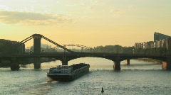 Nautical vessel on the Rhine Frankfurt Stock Footage