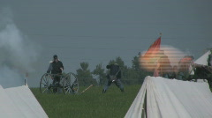 HD Stock -Civil War - Union Cannon Fire w/ Calvary Officer Stock Footage