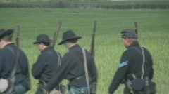 HD Stock- Civil War - Union Soldiers marching into battle Stock Footage