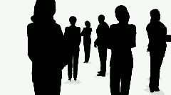 Three groups of businessmen, from side view to top view Stock Footage