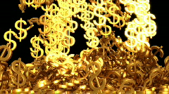 Golden dollar sign storm surge Stock Footage