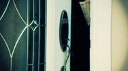 Tilt businessman talking out door tinted Stock Footage